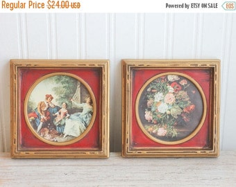 Framed Art Set, Vintage Prints, Miniature Prints, Gainsborough Style Painting, Neoclassical Home Decor, Small Ornate Frame, Red Gold Decor