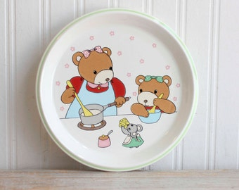 """Vintage Mikasa """"Little Chief"""" Bear Family Dinner Plate, Childrens or Kids Plate, Kitsch Cottage Kitchen"""