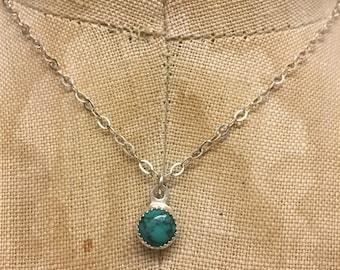 Dainty Turquoise Necklace- turquoise pendant, December birthstone, turquoise necklace, gemstone jewelry, southwestern,