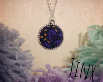 Vintage Fabric Pendant Necklace // Deep Purple // Yellow and Purple floral
