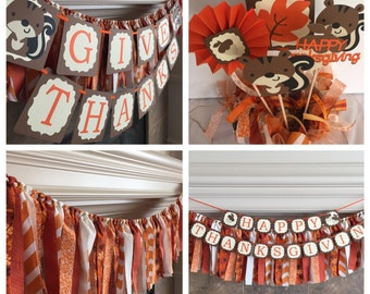 Thanksgiving Party, Thanksgiving centerpiece, Thanksgiving fabric banner, Happy Thanksgiving Party Decor Thanksgiving Party Package