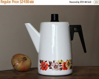 50% OFF Beautiful vintage enamel coffee pot from Soviet Union times