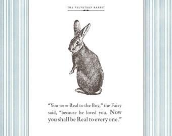 Velveteen Rabbit Quote Print, vintage illustration, real passage
