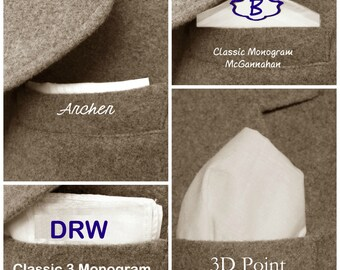 4 gifts in 1 Monogram or Alma Mater Monogram for Father of the Bride/Father of the Groom Handkerchief Gift. A gift worn four ways.