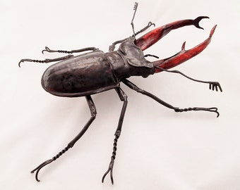 Giant Stag Beetle Copper Metal Wall Sculpture