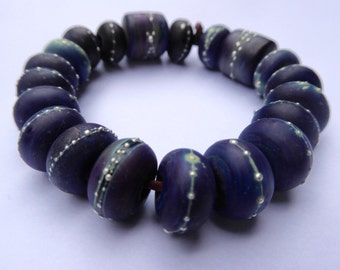 20 Handmade Glass Beads in Beautiful Dark Matte Opaque Purple Blue Multi Color Glass and Fine Silver by SRA Sarah Klopping