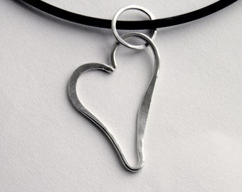 Silver Heart Necklace - Black Rubber Necklace with Sterling Silver Clasp & Chunky Heart Sterling Silver Pendant