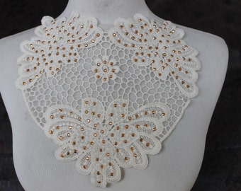 Cute   venice applique ivory  color   with studs 1 pieces listing