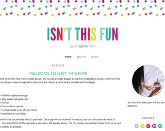 Premade Blogger Template - Simple & Clean Blog Design - Blogspot Template - Fun and colorful blog design - Isn't This Fun