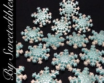 FROZEN THEME Edible Small Snowflakes Blue and White Cake Toppers