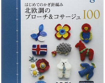 Nordic Brooch and Corsage Crochet Patterns 100  Japanese Craft Book