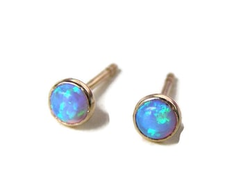 Opal Studs, Stud Earrings, Opal Errings, Solid gold earrings, gift ideas, anniversary gift, valentines day gift, 14k gold earrings,  3mm