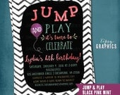 Trampoline Bounce House Birthday Party Invitation JUMP & Play. Tumble Jump Flip Gymnastics Bouncy House Watercolor Invite by Tipsy Graphics.