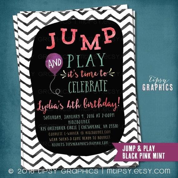 Trampoline Bounce House Birthday Party Invitation JUMP & Play