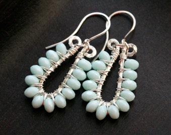 Light aqua blue dangle earrings, wire wrapped, sterling silver, dangle hoops, Czech glass, beaded, Mimi Michele Jewelry