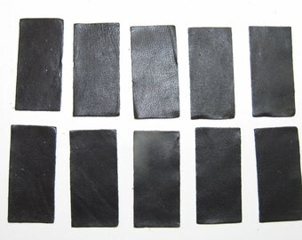 "Lamb Leather Rectangle Die Cuts -  Black 2- 7/8"" x 1-3/8"" (10 pieces)"