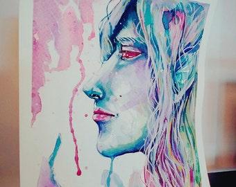 ELF original watercolor painting 18cm x 18cm artwork