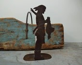 Vintage Rustic Native American Indian Metal Candle Holder