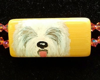 Old English Sheepdog Handpainted on Bamboo Necklace