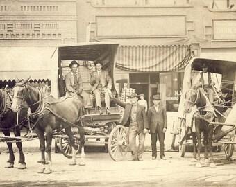 Horse Drawn WAGONS on MAIN STREET Photo Postcard Circa 1910