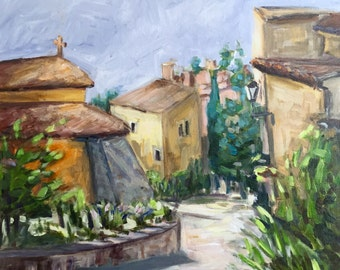 "Street in Roussillon Luberon Provence 18""x18"" acrylics on canvas original painting"