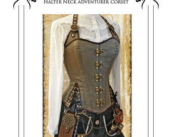 Steampunk  / Pirate corset Halter neck style adventurer corset full size Paper Sewing Pattern - size Large