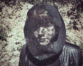 Beekeeper Black Veiled Hood / Hooded Scarf / Mesh hood