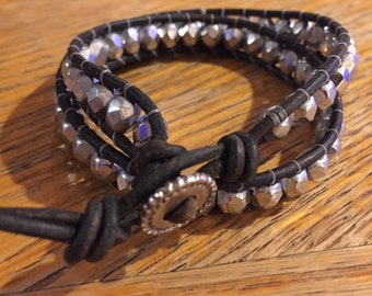 Double Wrap Bracelet in Antique Black Leather