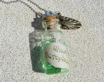 Ghost Ectoplasm In A Bottle Pendant Necklace, Tiny Glass Bottle, Party Favor, Boy Necklace