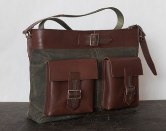 Army green messenger bag, waxed canvas and leather crossbody bag  - VIA I