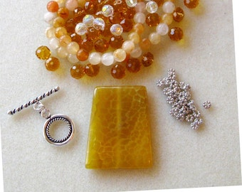 Yellow Agate, Jade Beads, Crystal Glass,   Necklace Kit, Jewelry Making Beads, DIY Jewelry Kit, Bead Kit,  Gemstone  Beads, Craft Supplies