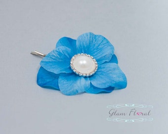 Blue Real Touch Double Hydrangea Hair Clip (no.6wh)