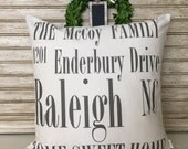 Housewarming Personalized | Family Name | Address Pillow | Home Sweet Home | New Home Gift | Insert Included