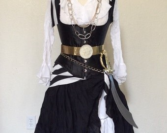 Complete Pirate Halloween Costume Including Corset, Scarves, Belts & Jewelry - Black and White - Small / Medium
