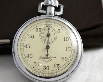 Rare Vintage Sport 1 Button Chronometer Stopwatch Zlatoust Watch Factory 1961 made in USSR