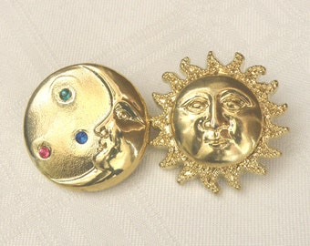 Sun and Moon Buttons Large Gold Plastic Buttons for Crafting