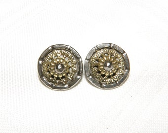 Small Steel Cup Buttons Matching Pair with Brass and Cut Steel Center