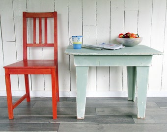 Vintage Shabby Light Green Short Table, Side Table, Child's Table