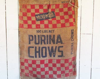 Vintage Purina Cattle Chow Bag - Burlap Bag - Gunny Sack with Red Checked Graphics