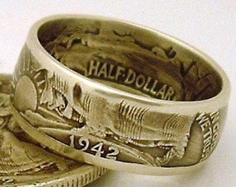 Handcrafted Walking Liberty Half Dollar Coin Ring (90% Silver) (Available in sizes 8.5 through 13)