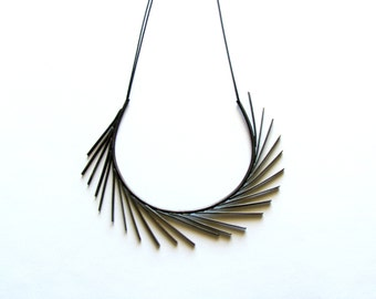 Brass Collar Statement Necklace-Avant Garde Collar Necklace-Oxidized-Black Statement Necklace-Designer Necklace-Art Jewellery-Greek Inspired