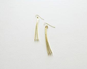 Gold Minimalist Statement Earrings-Gold Modern Dangle Earrings-Gold Minimalist Long Earrings-Greek Modern Jewelry-Contemporary Jewellery