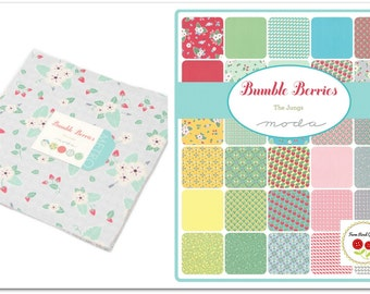 "Bumble Berries Layer Cake Fabric Strawberry Fabric 10"" Fabric Squares Moda Layer Cake"