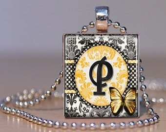 Letter P Monogram Pendant n Yellow and Black Damask made from an Upcycled Scrabble Tile  (170)