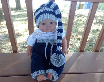 Long Tail Elf Hat/Matching Pants for 0-3 Month Baby or Reborn Doll in Navy Blue and Light Grey Trim