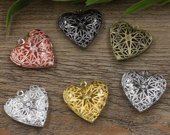 10 Lockets- Brass Bronze/ Silver/ Gold/ Rose Gold/ White Gold/ Gun-Metal Plated 15mm Heart Locket Photo Frame Pendant Base Wholesale- Z4719