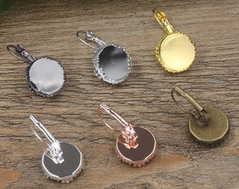 40PCS Brass Bronze/ Silver/ Gold/ Rose Gold/ White Gold/ Gun-Metal Plated Lever-Back Ear Wire W/ Crown Edged 15mm Round Bezel Setting- Z5812