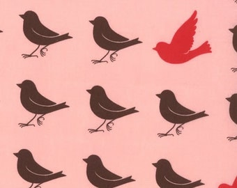 Oh Deer Cherry by MoMo - Moda Fabric-pink  Birds-OOP