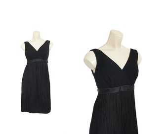1960s FRINGE Dress VLV • 60s Flapper Dress • Black Cocktail Dress • XS