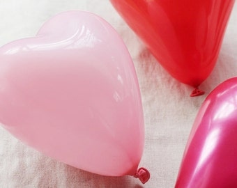 """24 HEART BALLOONS 11"""" Choose Red Pink or White Valentine's Day Valentine Balloon Decor Love Date Dinner Surprise Wedding Photo Prop Hearts"""